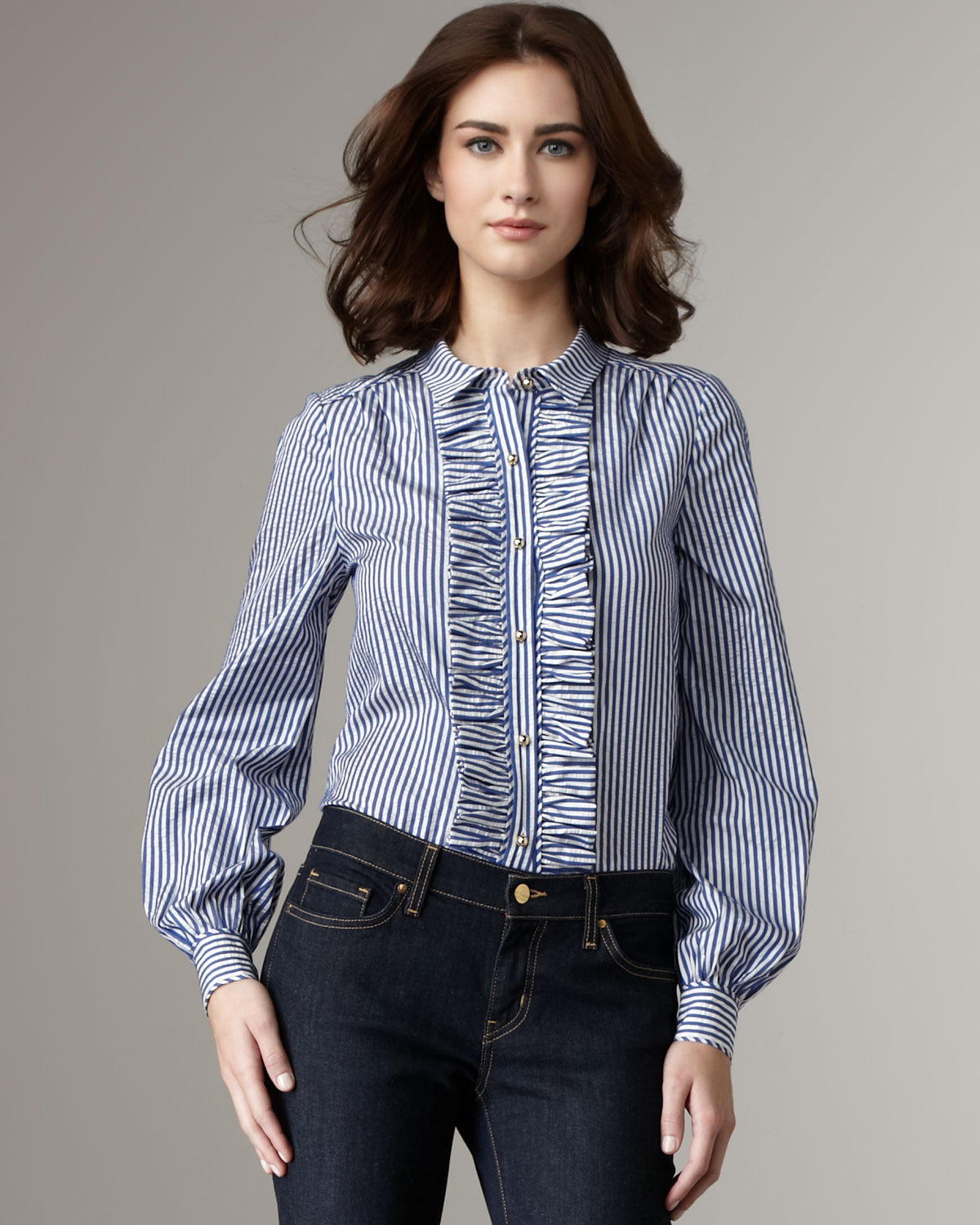 Kate spade new york Tiff Ruffle-front Blouse in Blue | Lyst