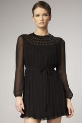 Aidan Mattox Beadneck Longsleeve Chiffon Dress in Black - Lyst