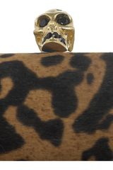 Alexander Mcqueen Skull Ocelotprint Calf Hair Box Clutch in Gold - Lyst