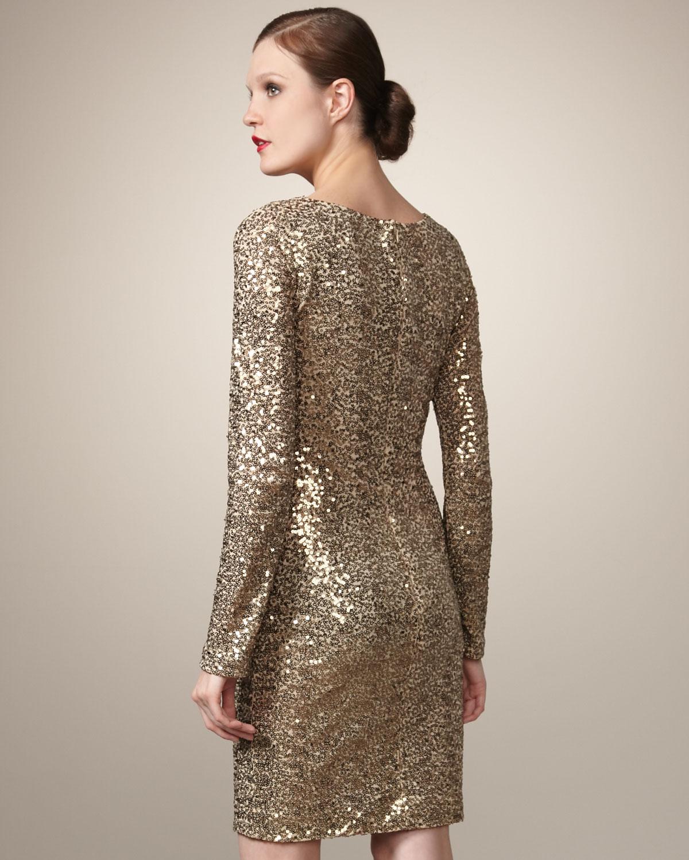 Cowl Dress: Badgley Mischka Sequined Cowl-neck Dress In Gold (Metallic