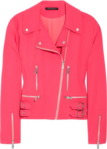 Christopher Kane Wool-blend Crepe Biker Jacket in Pink