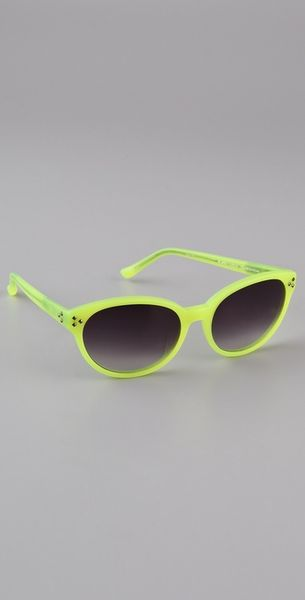 Matthew Williamson Neon Pointed Oval Sunglasses in Yellow - Lyst