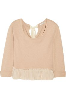 Miu Miu Silk-Trimmed Cotton-Blend Sweater - Lyst