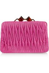 Miu Miu Mini Matelassé Leather Clutch - Lyst