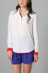 Sachin & Babi Long Sleeve Blouse with Grosgrain Trim - Lyst