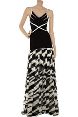 Hervé Léger Printed Silkchiffon and Bandage Dress in Black - Lyst