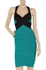 Hervé Léger Blockcolor Bandage Dress in Blue - Lyst