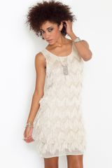 Nasty Gal Eyelash Fringe Dress  in Beige (cream) - Lyst