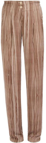 Bottega Veneta Striped Fluid Satin Trousers in Brown (chocolate) - Lyst