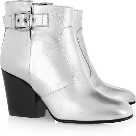 Giuseppe Zanotti Metallic Leather Ankle Boots in Silver - Lyst