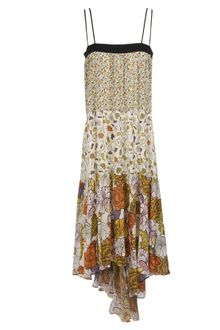 White  Dress on Proenza Schouler Printed Silk Chiffon Long Dress In Multicolor  Black