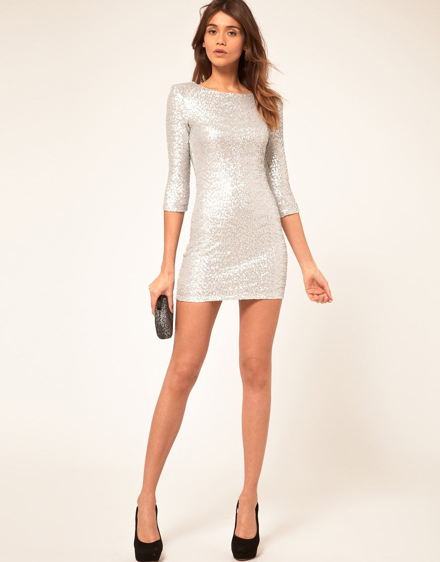 Tfnc London Tfnc Sequin Dress With Long Sleeves In Green