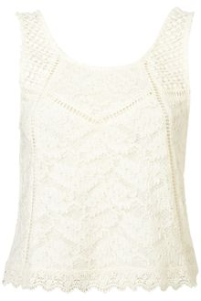 Topshop Lace Mix Shell - Lyst