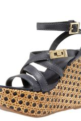 Tory Burch Dalcin Wicker & Leather Platform Wedge Sandals - Lyst