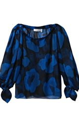 Yves Saint Laurent Large Poppy Silk Top - Lyst