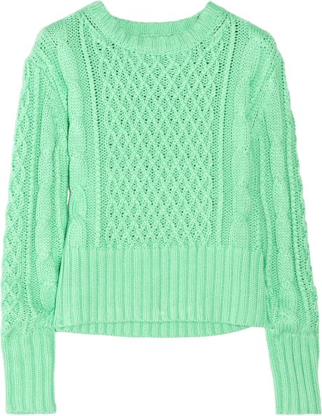 Acne Lia Cableknit Cotton Sweater in Green (mint) - Lyst