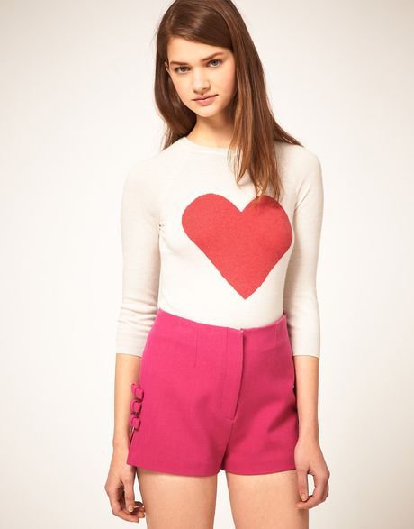 Asos Collection Asos Angora Jumper with Heart in Pink (creampink) - Lyst