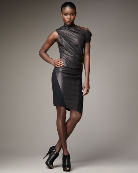 Helmut Lang Ruched Matte Leather Dress in Gray (black) - Lyst