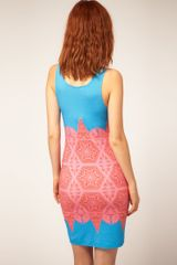 Jonathan Saunders Vest Dress Victoriana Band Print in Blue (turquoisepink) - Lyst