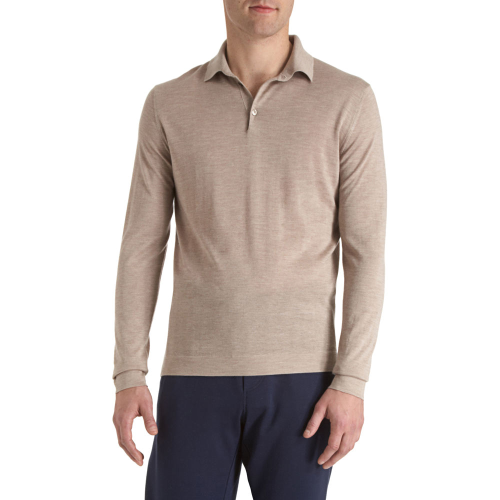 Malo Long Sleeve Polo Shirt In Brown For Men Tan Lyst