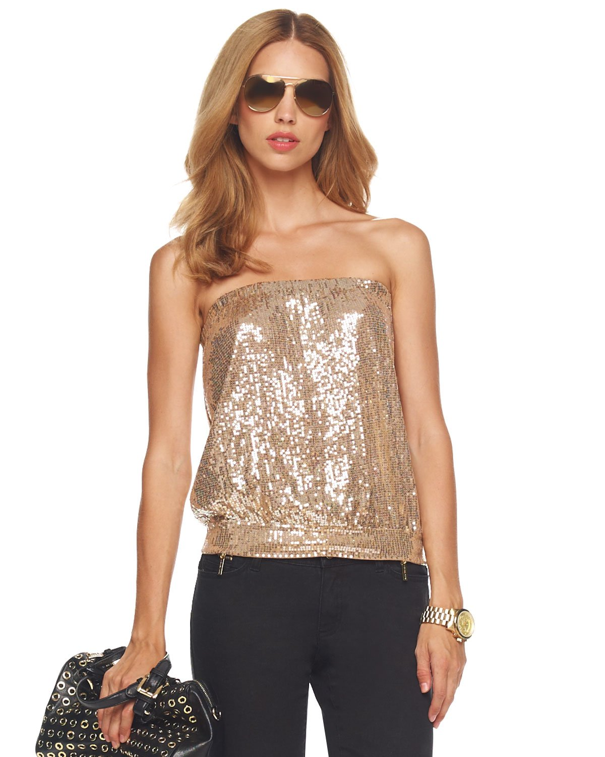 0590bd5b MICHAEL Michael Kors Sequined Tube Top in Natural - Lyst