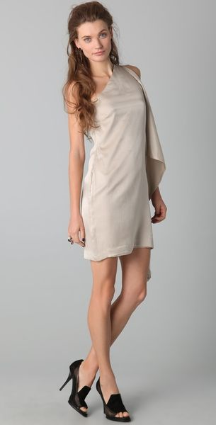 Robert Rodriguez Asymmetrical Sleeve Slim Dress in Beige - Lyst