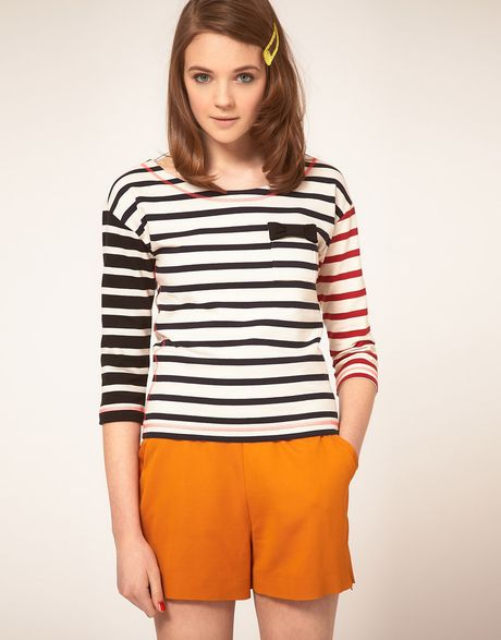 Sonia By Sonia Rykiel Multi Stripe Breton Tee in Multicolor (114ecrumarinenoir) - Lyst