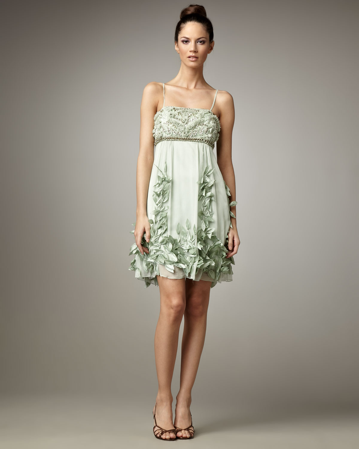 Sue wong Leaf-embellished Cocktail Dress in Green | Lyst