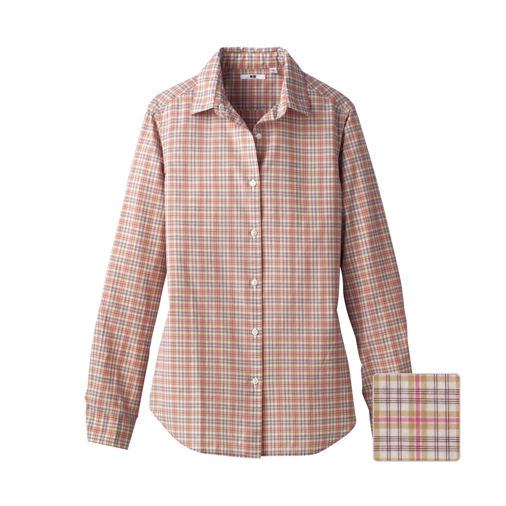 Uniqlo Women Broadcloth Check Long Sleeve Shirt A In Pink