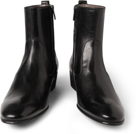 Saint Laurent Johnny Leather Chelsea Boots In Black For