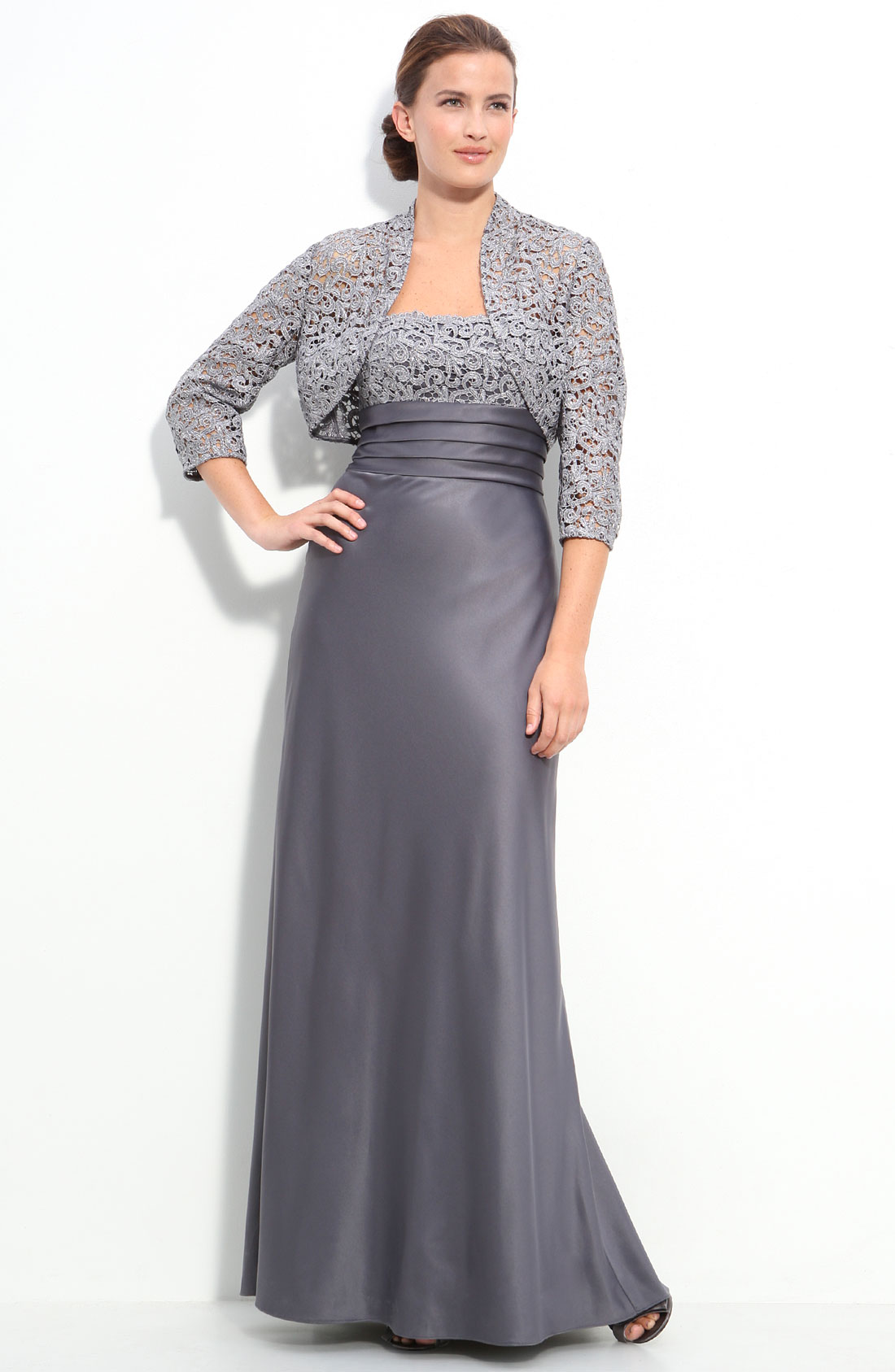 Adrianna Papell Lace Trim Satin Gown with Bolero in Gray