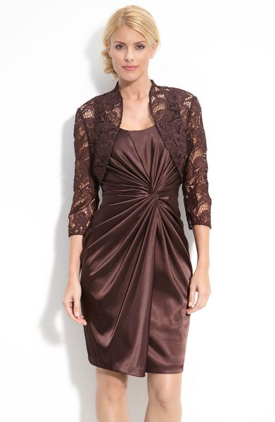 Adrianna Papell Stretch Satin Dress With Lace Bolero In