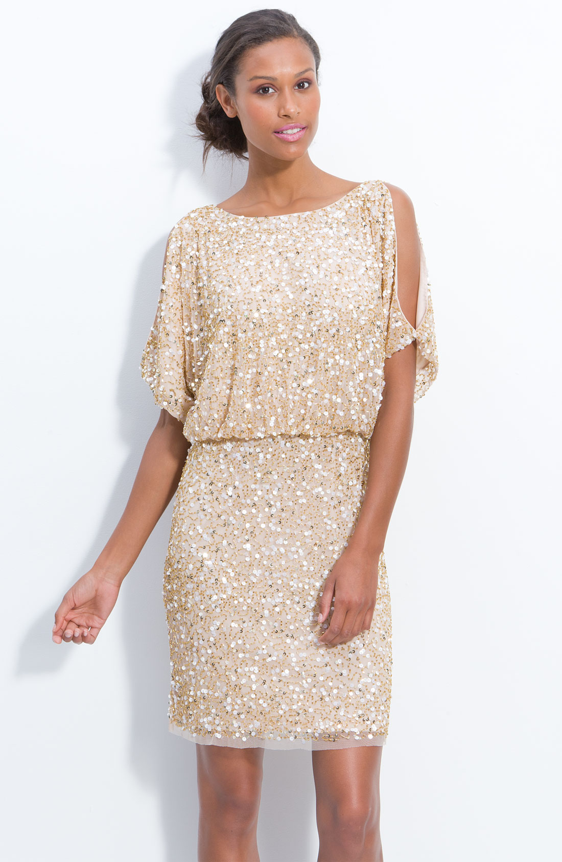 aidan mattox gold bloused cold shoulder sequin dress product 2 2561973 499022846