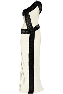 Amanda Wakeley Bead-trimmed Silk-cady One-shoulder Gown - Lyst