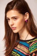 Asos Collection Limited Edition Double Spike Earrings in Green - Lyst