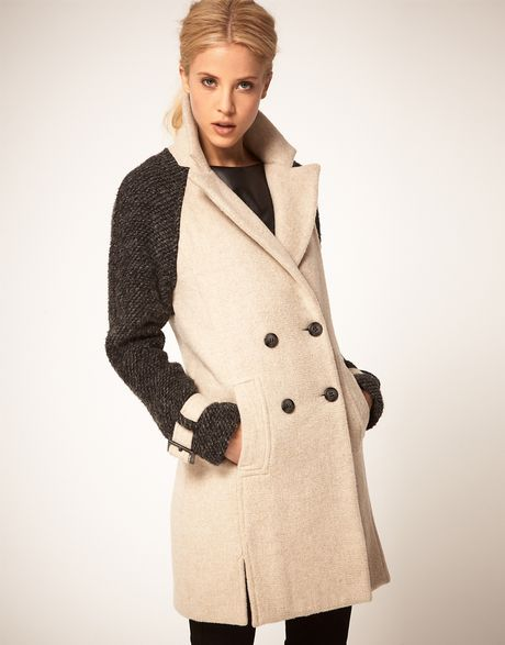 Asos Collection Asos Double Breasted Coat with Contrast Sleeves in Beige (stone) - Lyst