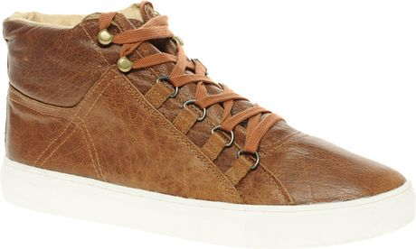 Asos Asos Padded Cuff Leather Mid Cut Trainers in Brown for Men - Lyst