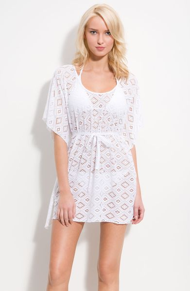 Crochet Cover Up : Becca Crochet Cover-up in White (pearl) Lyst
