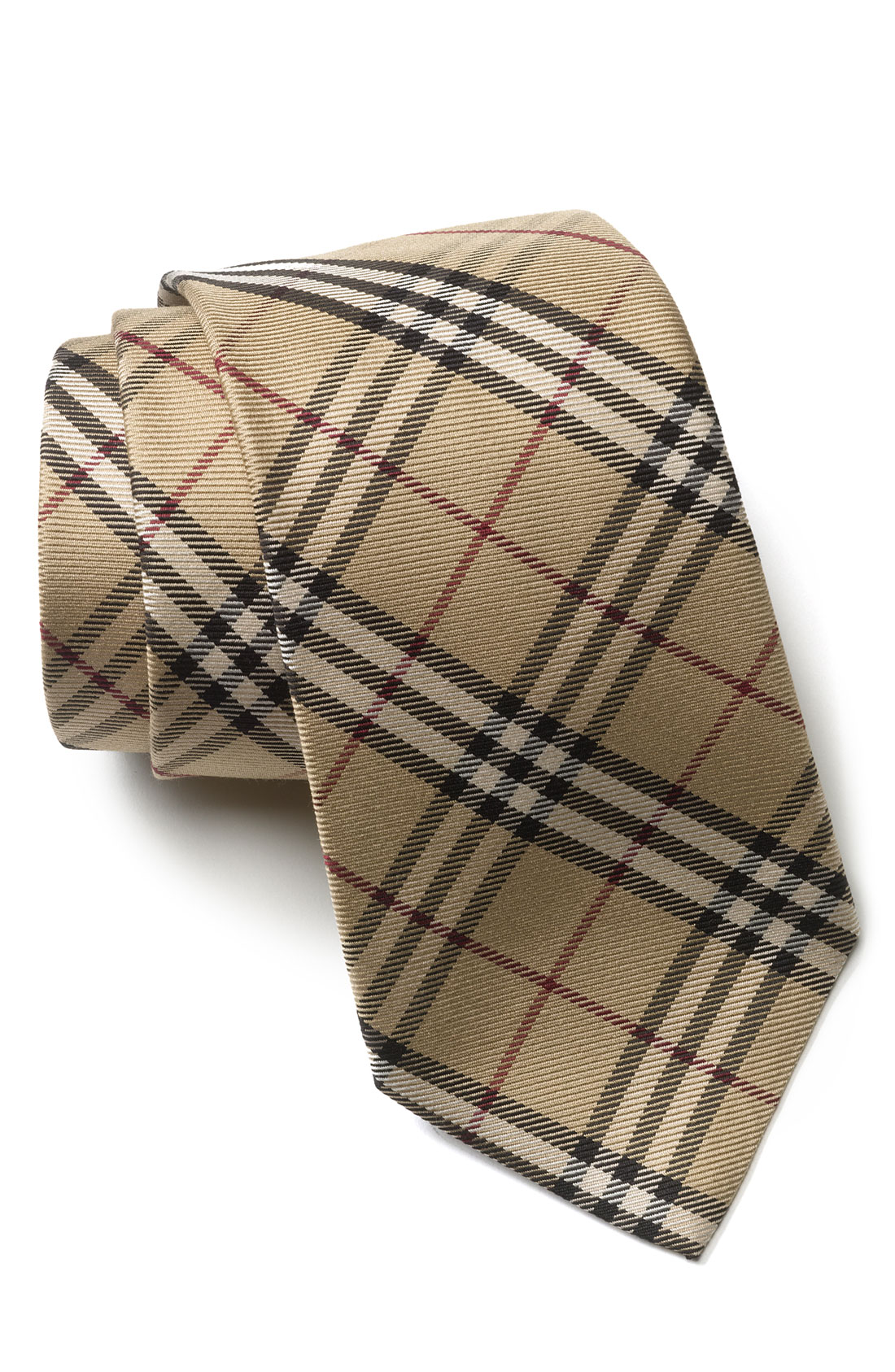 burberry woven silk tie in beige for coffee check lyst