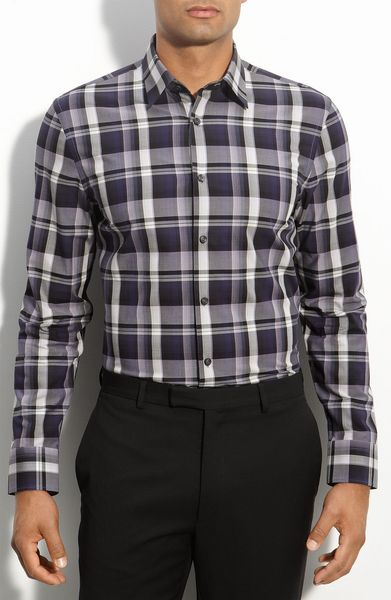 Calibrate Variegated Plaid Sport Shirt in Purple for Men