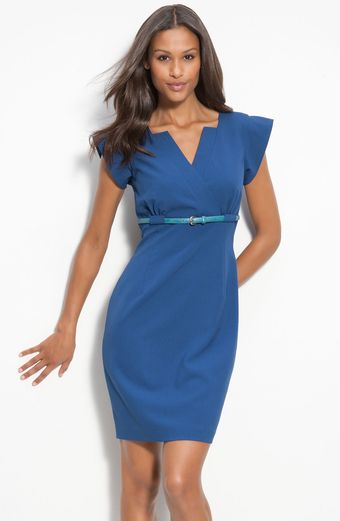 Calvin Klein Belted Surplice Sheath Dress - Lyst
