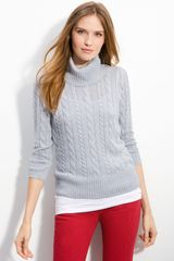 Caslon® Cable Knit Turtleneck Sweater - Lyst