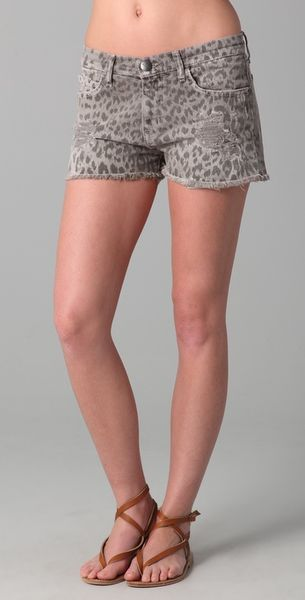 Current/elliott Boyfriend Leopard Print Shorts in Gray (grey) - Lyst