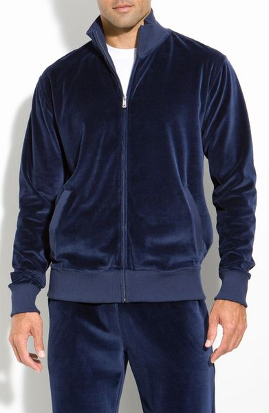 Daniel Buchler Velour Jacket In Blue For Men Navy Lyst