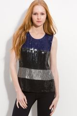 DKNY Sleeveless Colorblock Sequin Top - Lyst