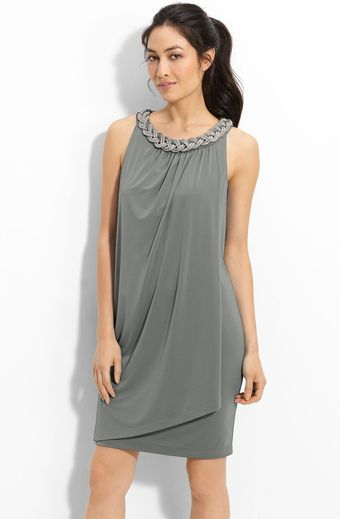 Donna Ricco Chain Neck Matte Jersey Shift Dress - Lyst