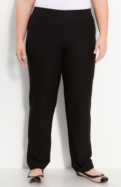 Eileen Fisher Straight Leg Pants in Black - Lyst