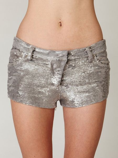 Free People Iro Sequin Shorts in Silver | Lyst