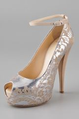 Giuseppe Zanotti Metallic Lace Open Toe Pumps - Lyst