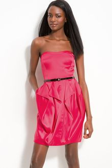 Jessica Simpson Belted Strapless Satin Dress - Lyst
